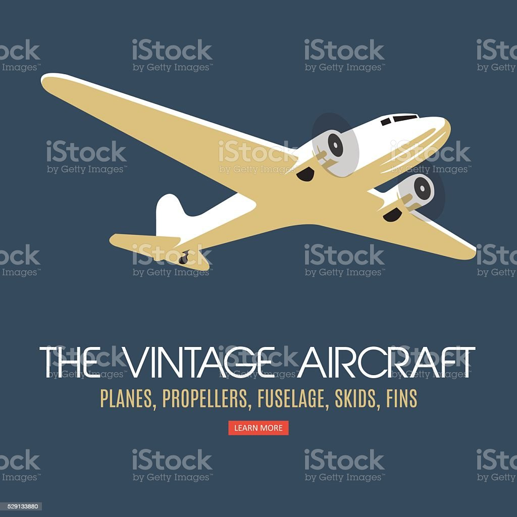 Twin engine passenger plane. For label and banners. vector art illustration