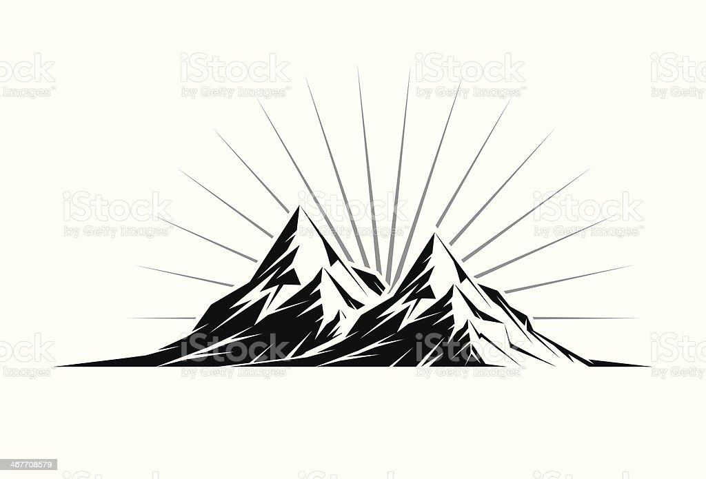 Twin Mountain Peaks royalty-free stock vector art
