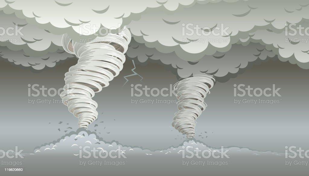 Twin tornados royalty-free stock vector art