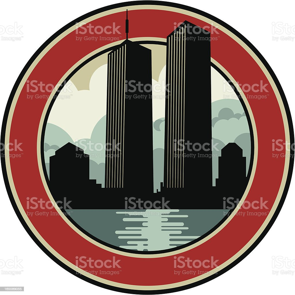 twin towers emblem royalty-free stock vector art