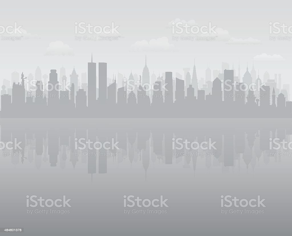 Twin Towers (Buildings Are Detailed, Moveable and Complete) vector art illustration
