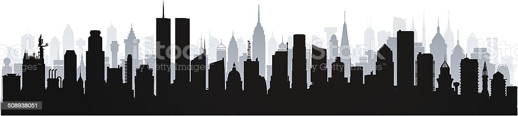 Twin Towers (Complete, Moveable Buildings) vector art illustration