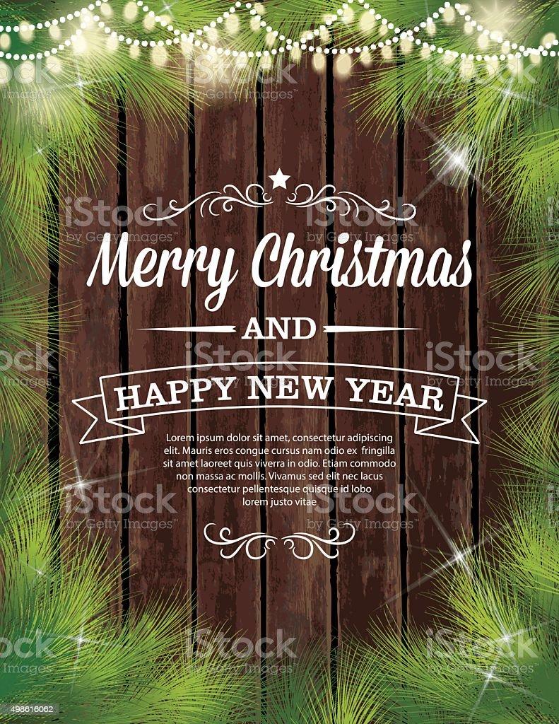 Twinkling Christmas Lights Evergreen Wood Background vector art illustration