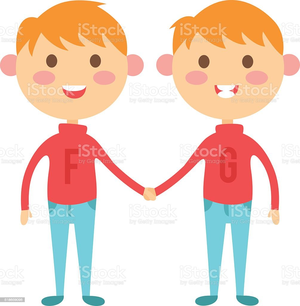 Twins happy kids holding hands boy and girl vector illustration vector art illustration