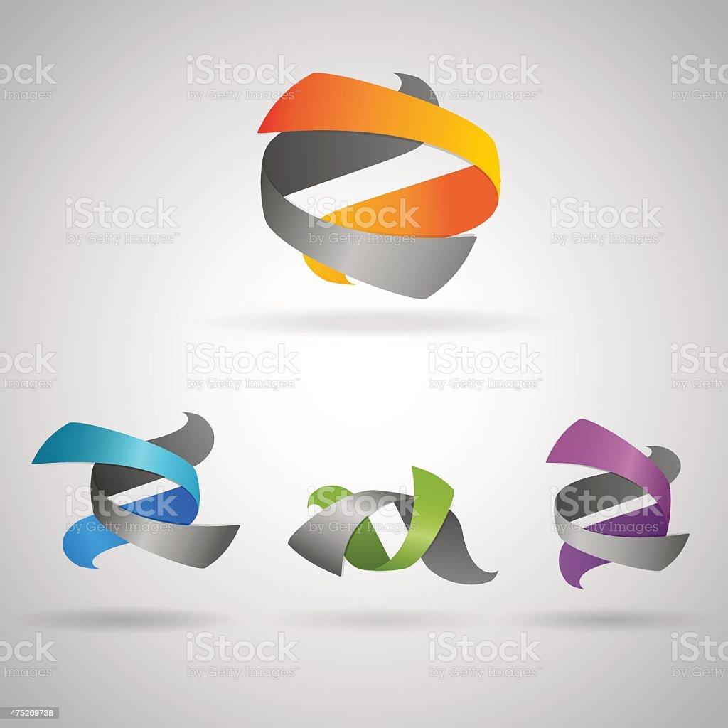 twist objects vector art illustration