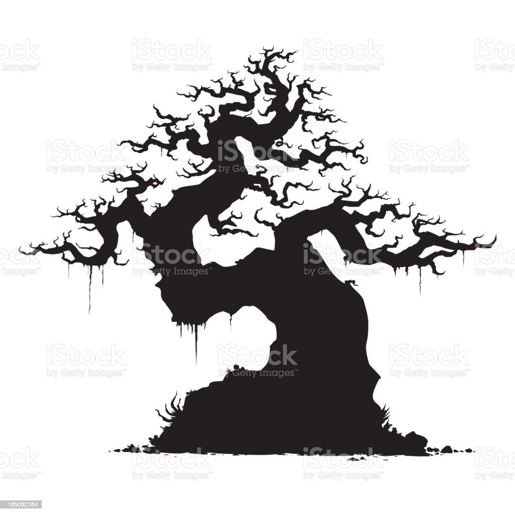Twisted Old Tree vector art illustration