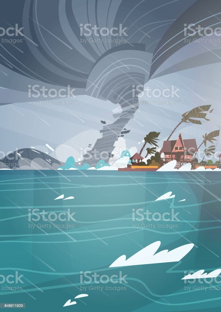 Twister Tornado Incoming From Sea Hurricane In Ocean Huge Waves On Houses On Coast Tropical Natural Disaster Concept vector art illustration