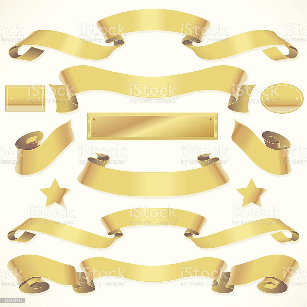 Twisting Gold Banners royalty-free stock vector art