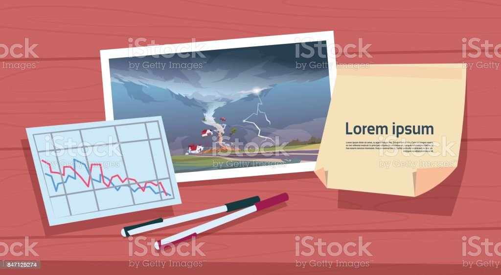 Twisting Tornado Image Of Hurricane Landscape And Damage Statistic Graph, Storm Waterspout In Countryside Natural Disaster Concept vector art illustration