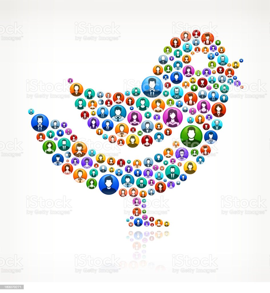 Twitter Bird People and community vector buttons royalty-free stock vector art