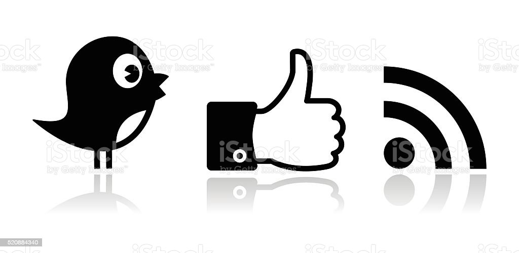 Twitter, Facebook, RSS black glossy icons set vector art illustration