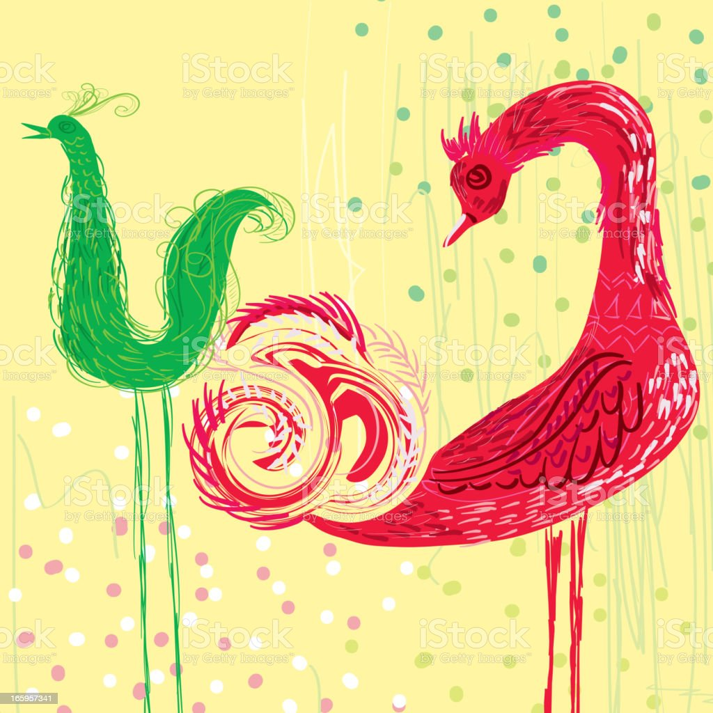Two abstract and colorful birds on a yellow background vector art illustration
