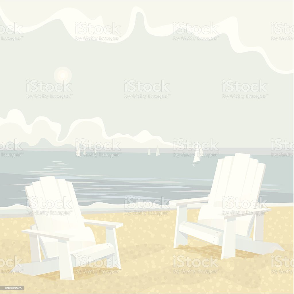 Two Adirondack Chairs on a Shore vector art illustration