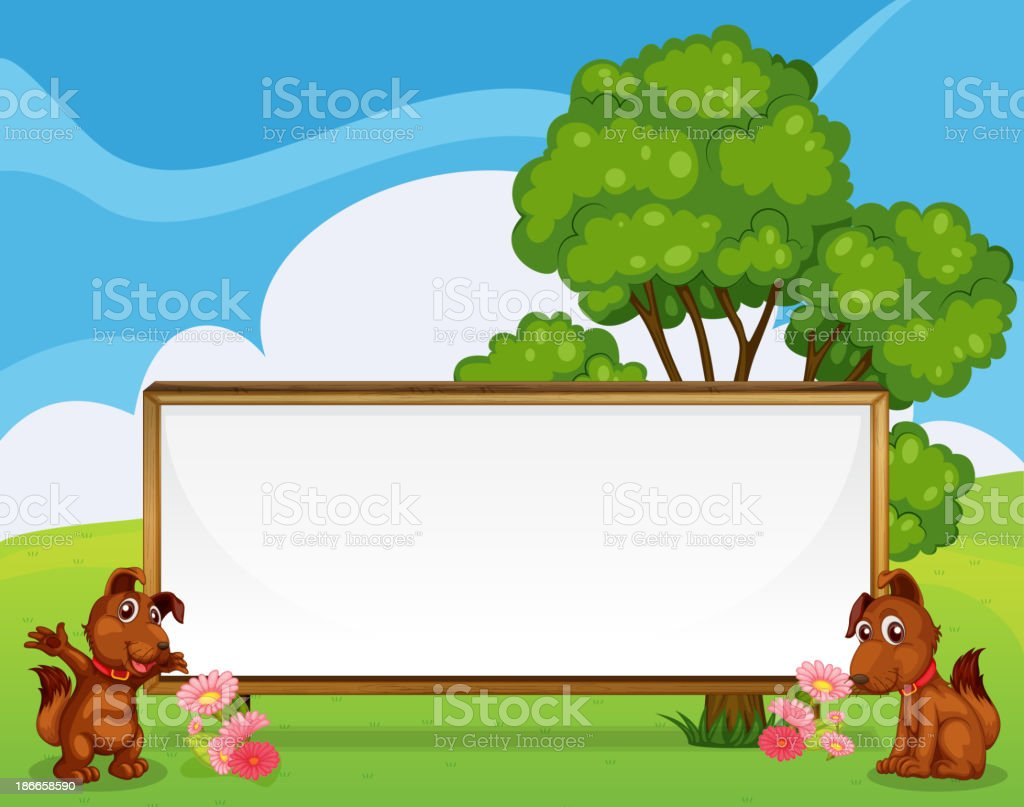 Two adorable puppies beside the big empty signboard royalty-free stock vector art
