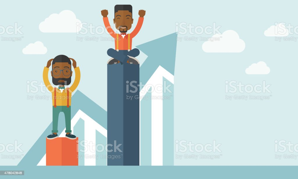 Two african-american businessmen vector art illustration