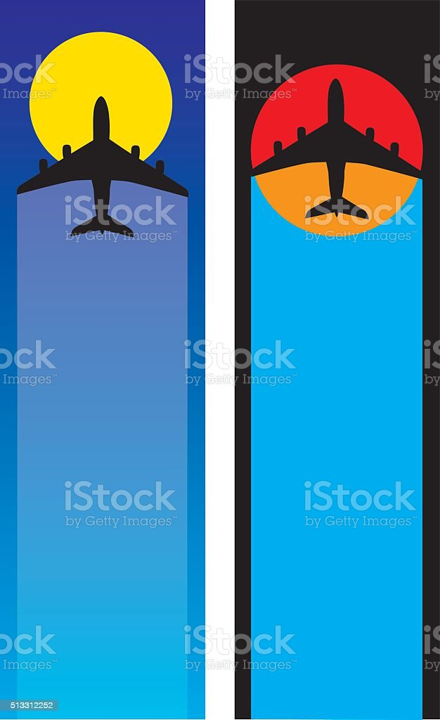 Two Airplane Banners vector art illustration