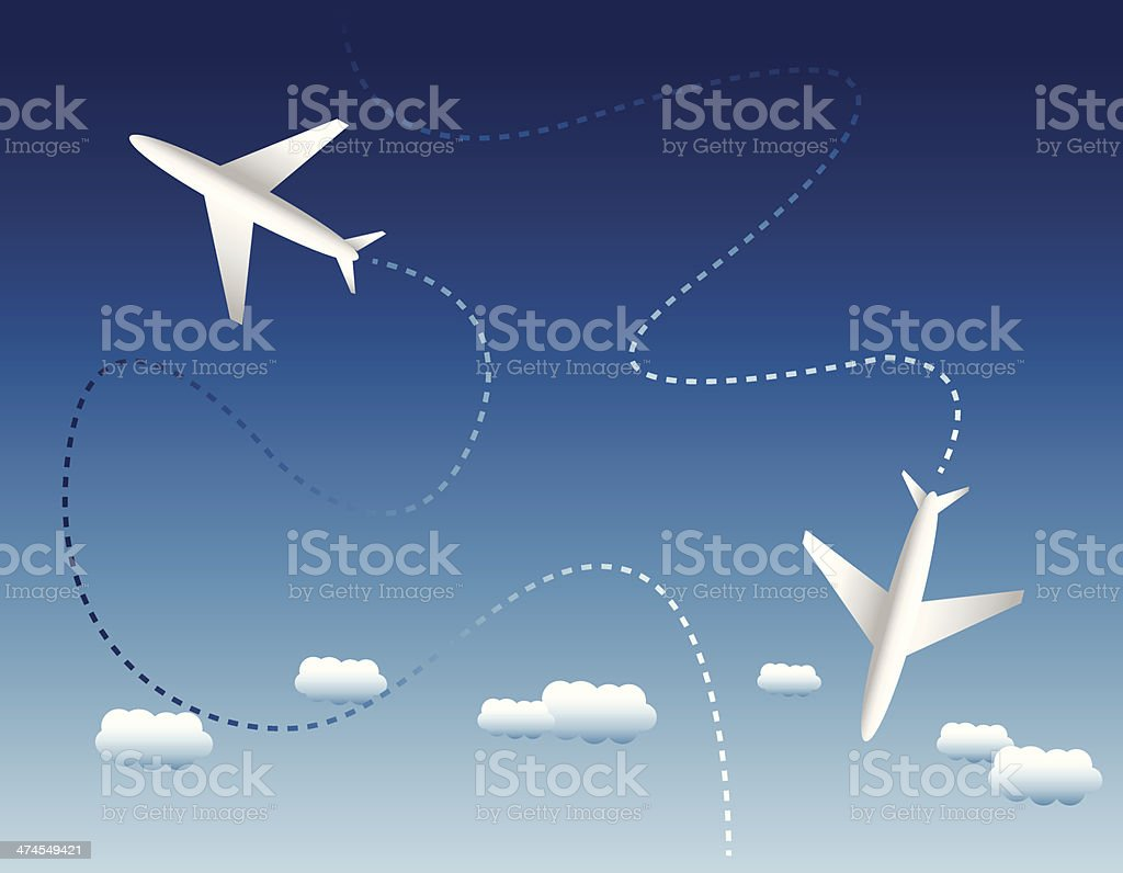 Two airplanes and clouds vector art illustration
