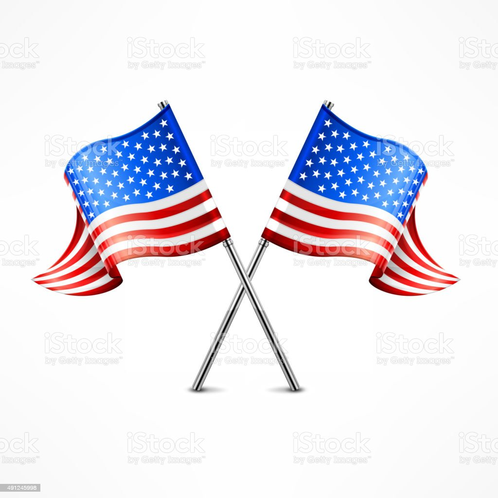 Two American flag vector art illustration