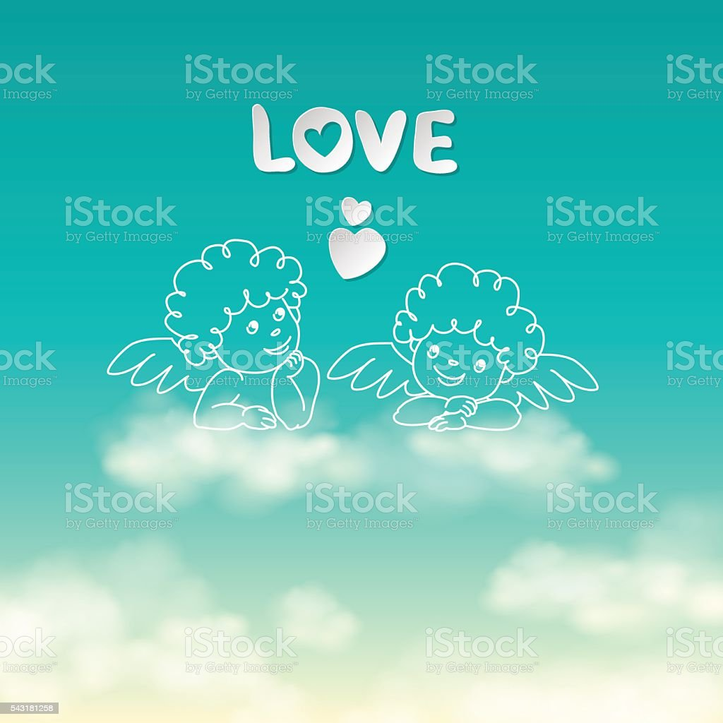 Two angels on a cloud love word and heart sunny vetor e ilustração royalty-free royalty-free