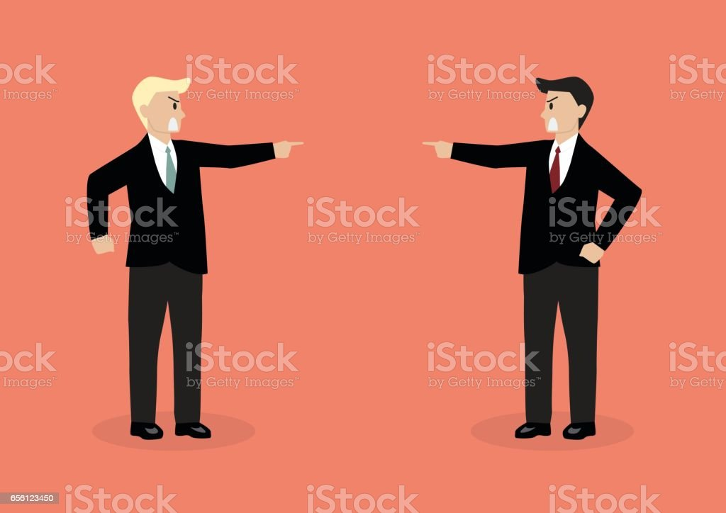 Two angry businessman are shouting on each other vector art illustration