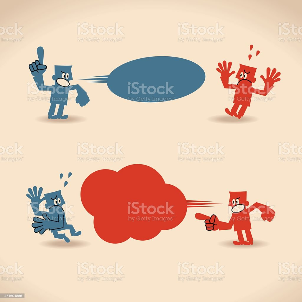 Two angry people quarreling (during a quarrel) vector art illustration