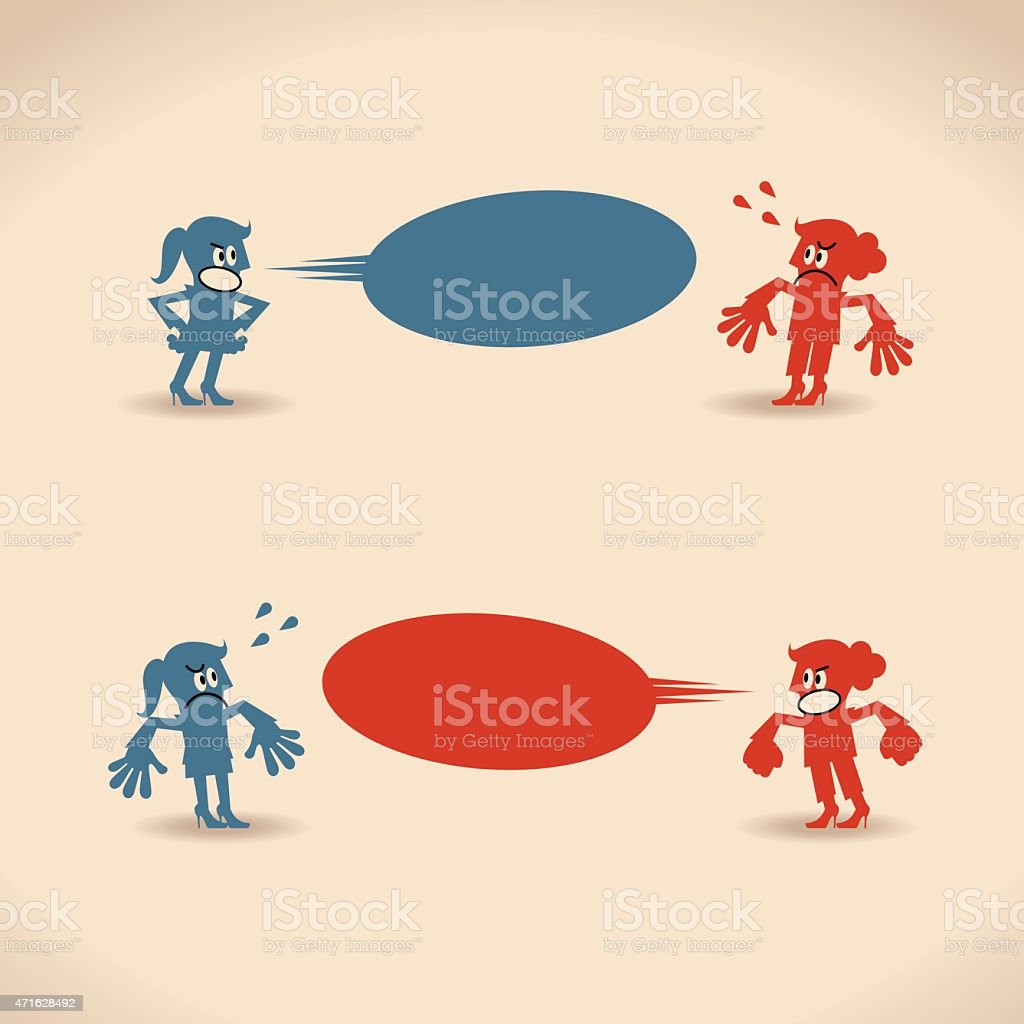 Two angry women quarreling (during a quarrel) vector art illustration