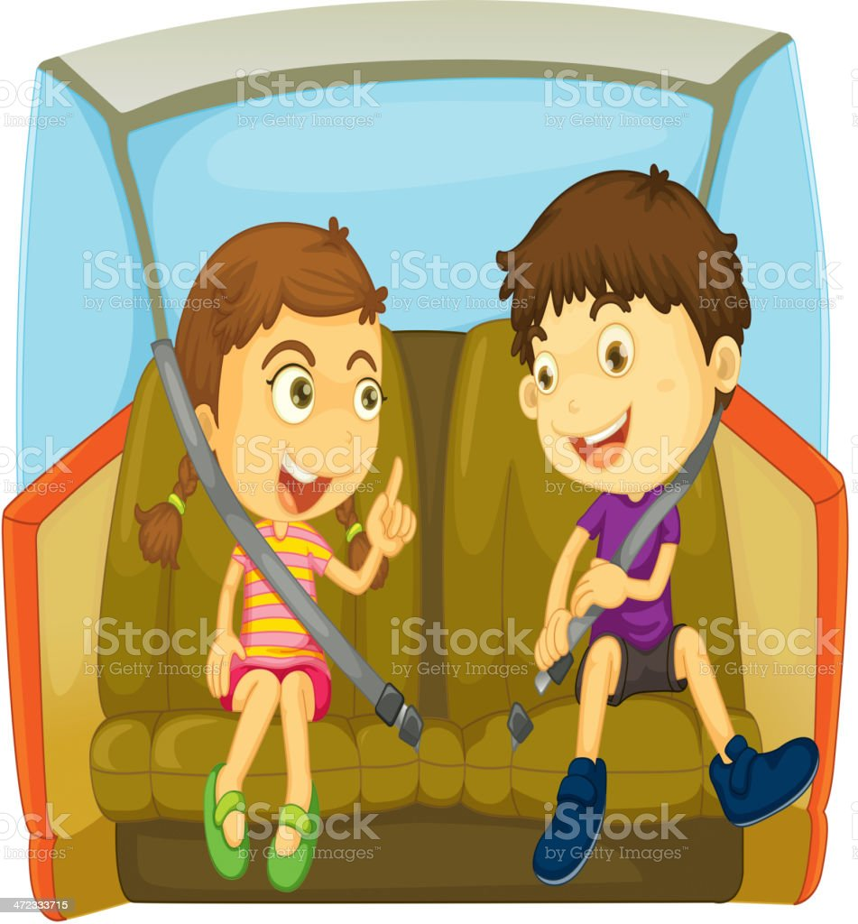 Two animated children in back seat of car wearing seatbelt vector art illustration