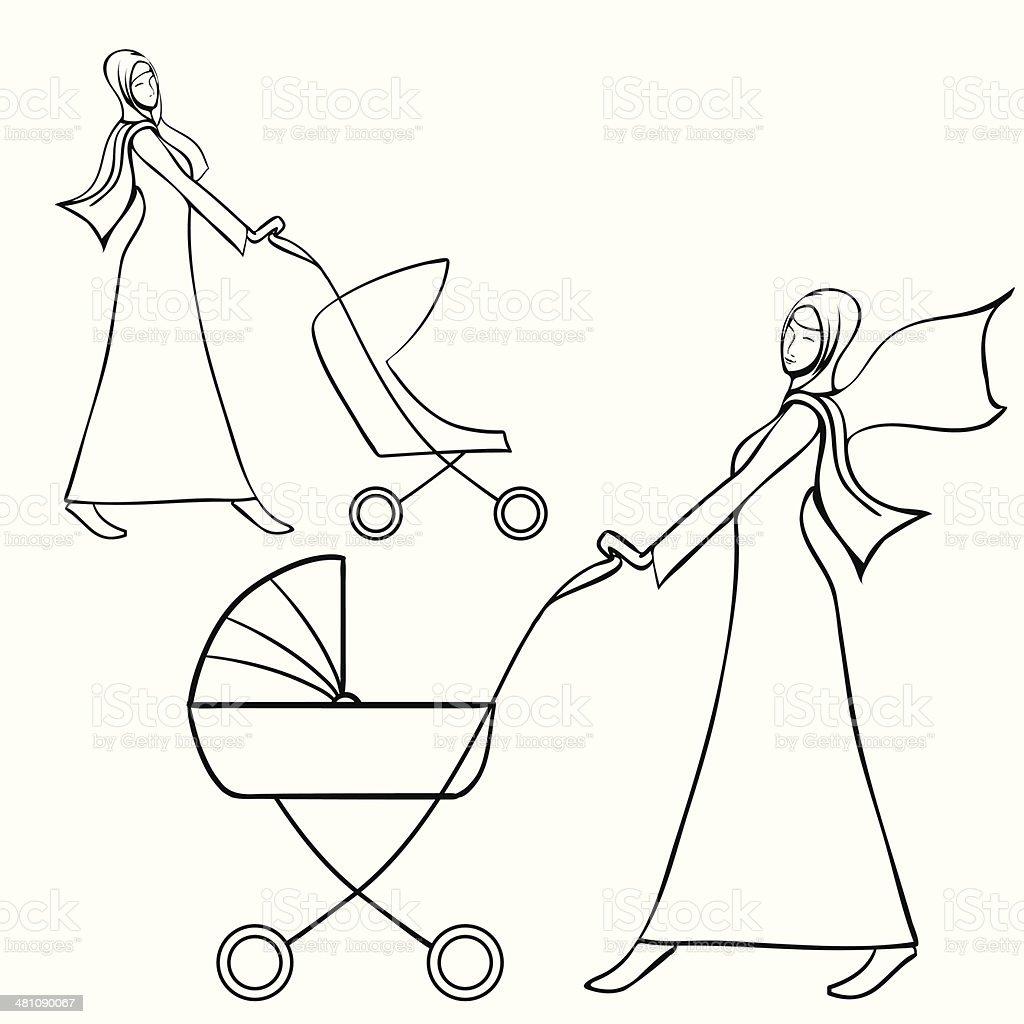 Two arab young women in traditional muslim dress pushing pram vector art illustration