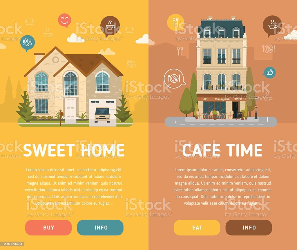 Two architecture banners vector art illustration