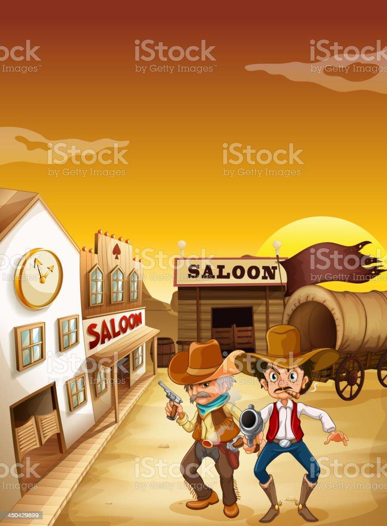 Two armed men standing outside the saloon vector art illustration