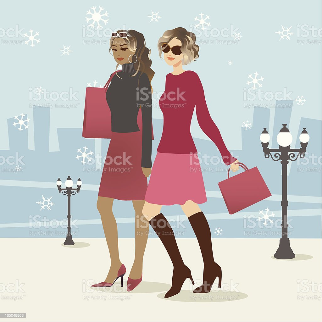 Two Attractive Women Doing Christmas Shopping royalty-free stock vector art