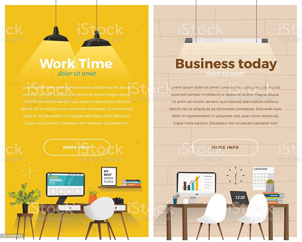 Two banner for web design vector art illustration
