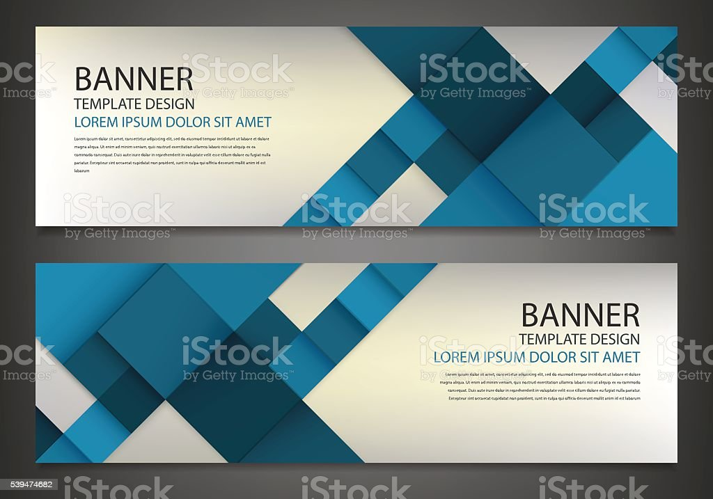 Two banners with colorful squares. Business design template. royalty-free stock vector art