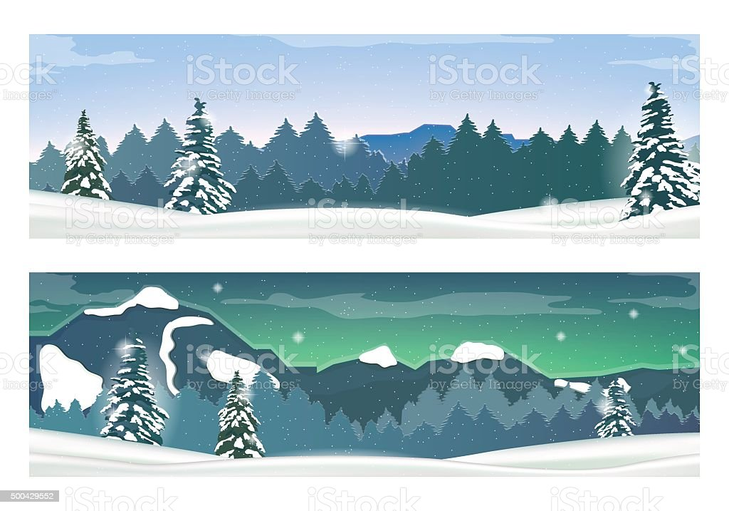 Two Banners with Holiday Winter Landscape royalty-free stock vector art