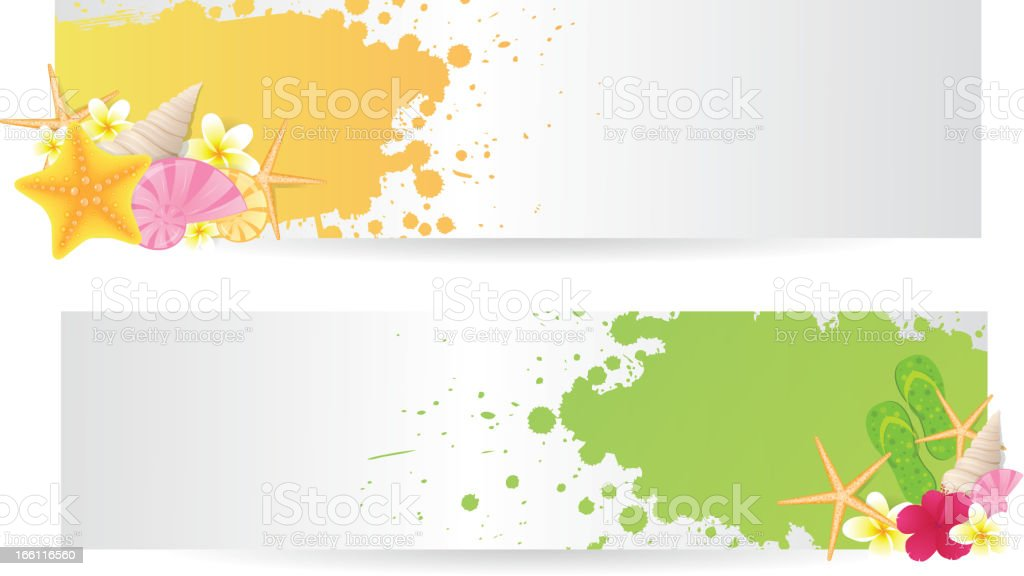 Two banners with summer elements royalty-free stock vector art