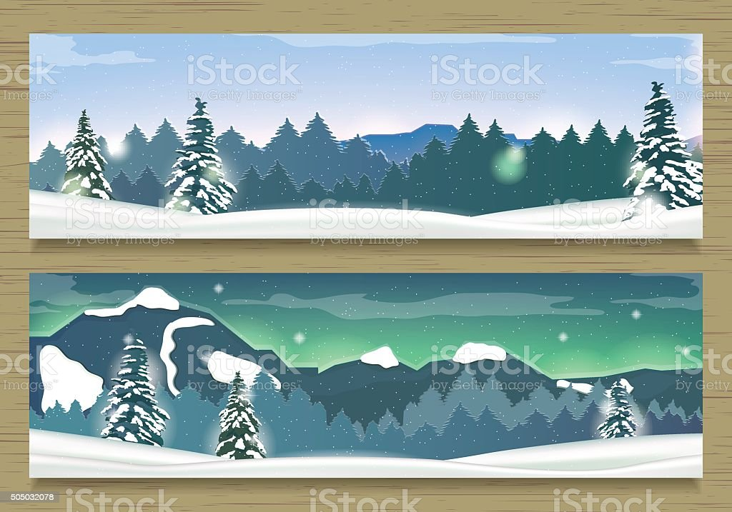 Two Banners with Winter Landscape and Snow Mountains. royalty-free stock vector art