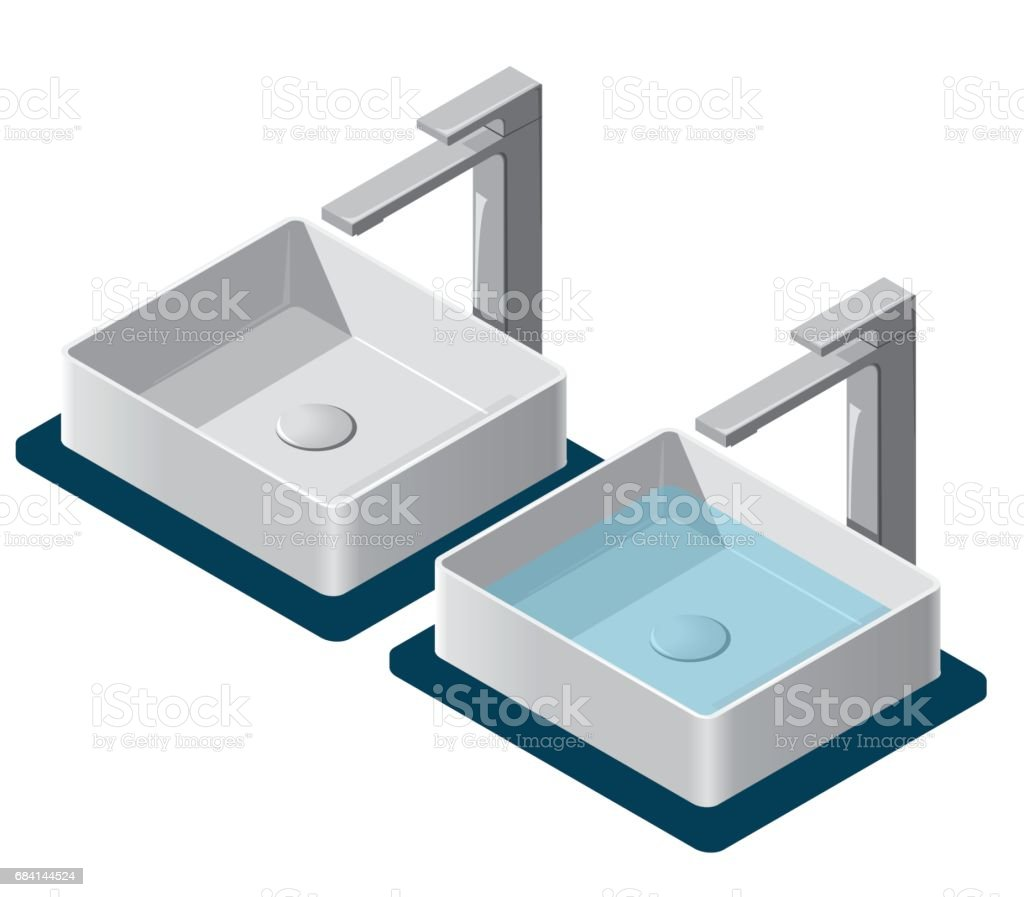 Two bathroom sinks. Isometric basin with tap. Kitchen interior infographic element. vector art illustration
