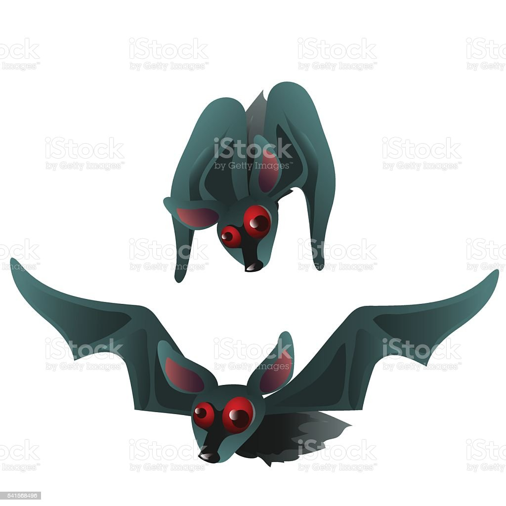 Two bats with red eyes, vector isolated vector art illustration