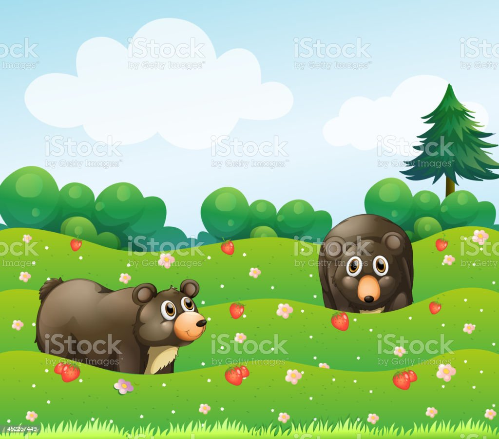 Two bears at the garden royalty-free stock vector art
