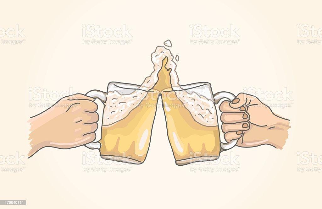 Two beers cheering vector art illustration