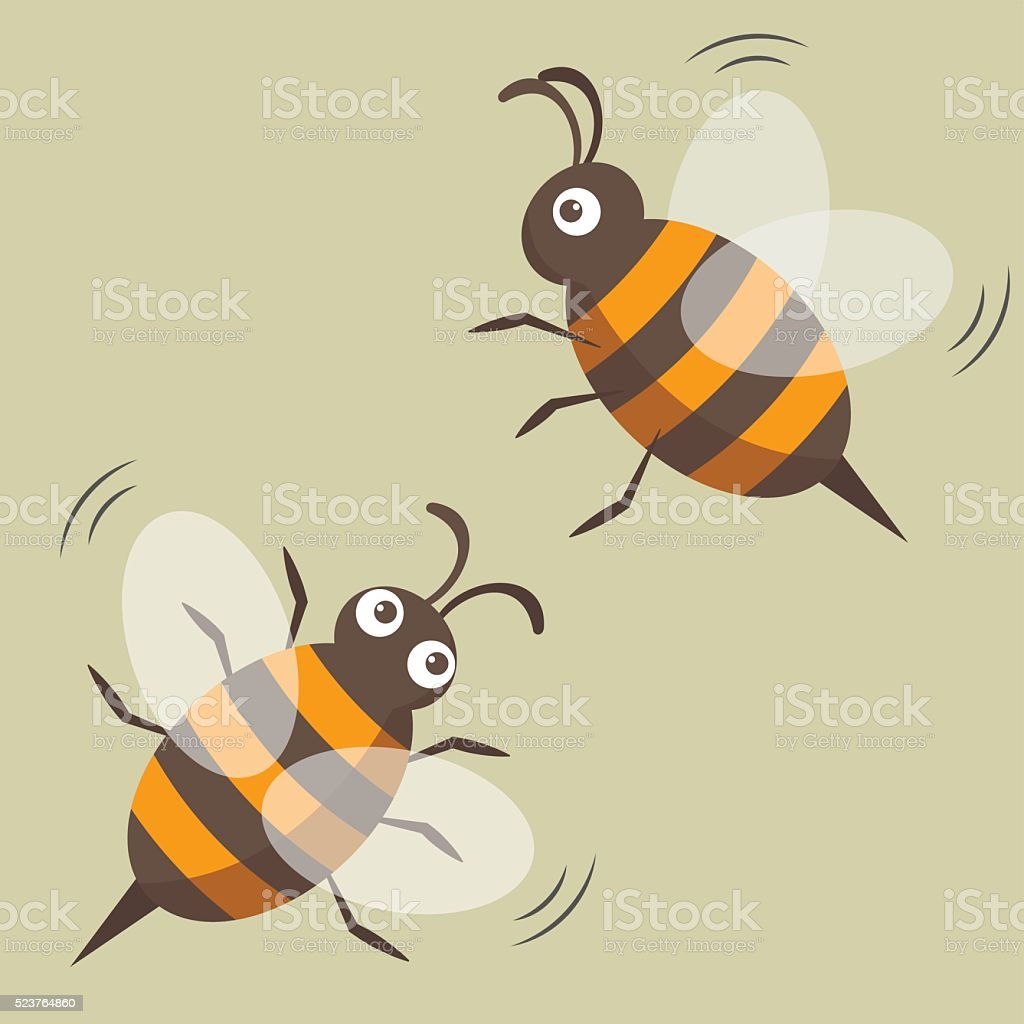 Two bees isolated. Vector picture. Cartoon style vector art illustration