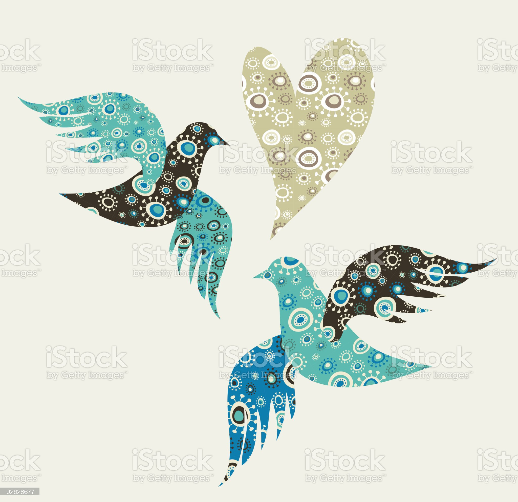 Two birds in love royalty-free stock vector art