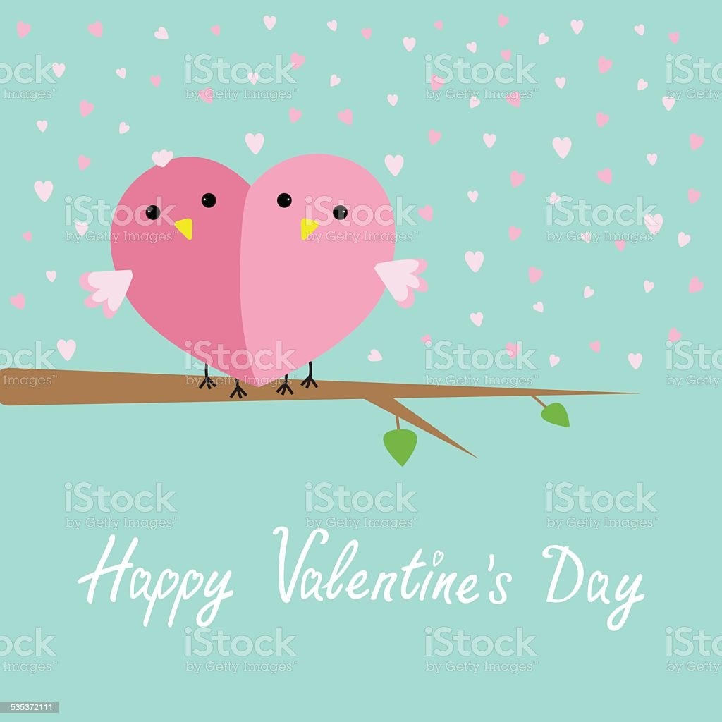 Two Birds Love Cart Flat Design Style Valentines Day Card stock – Bird Valentine Card