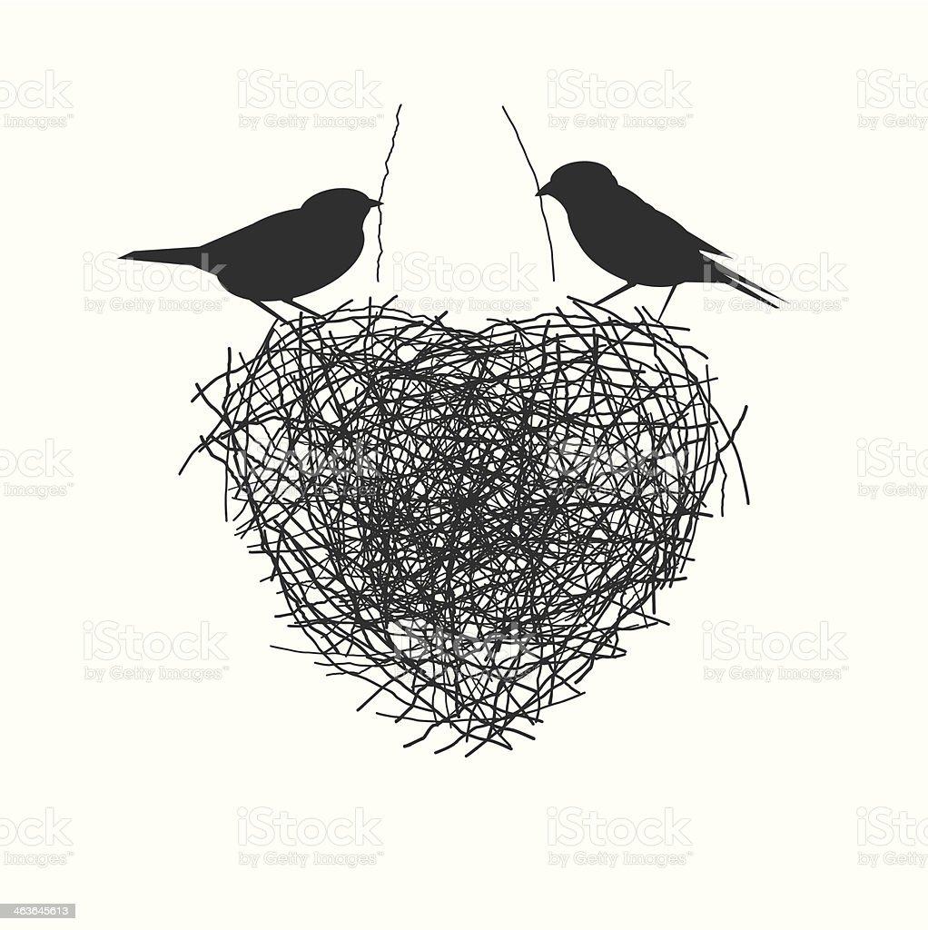 two birds making heir nest vector art illustration
