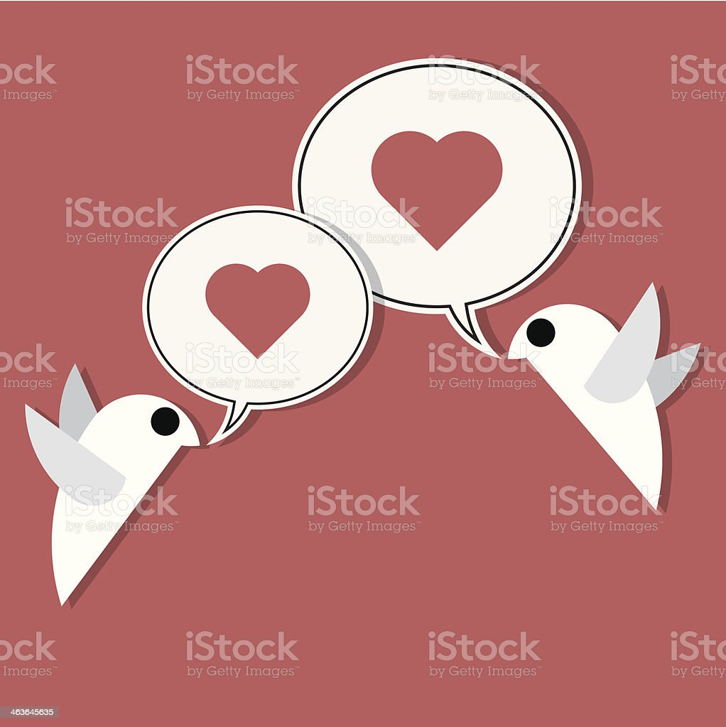 two birds on wire loving each other royalty-free stock vector art