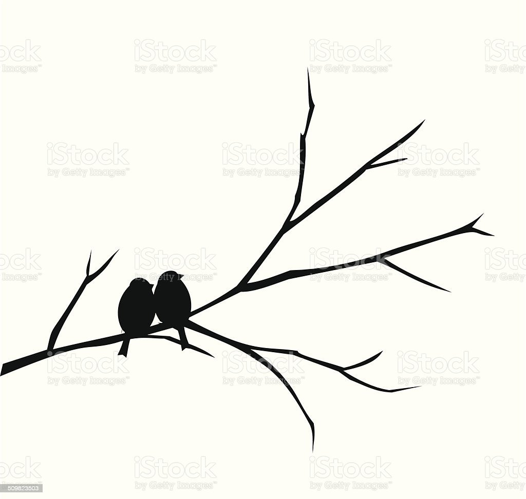 Two birds sitting on a branch vector vector art illustration