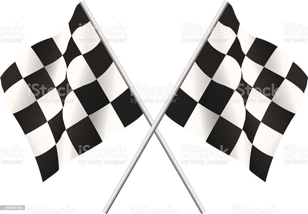 Two black and white checkered flags used for racing royalty-free stock vector art