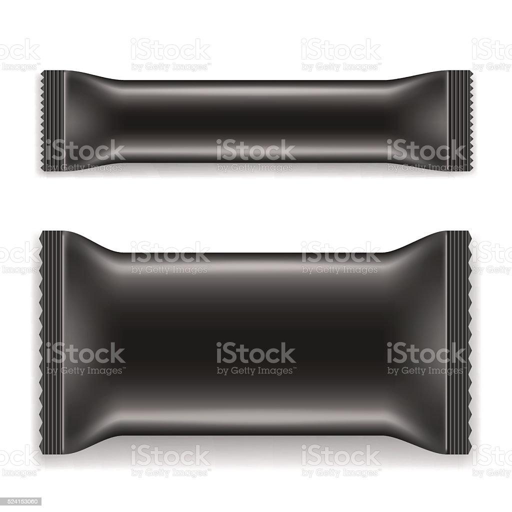 Two Black Blank Foil Packaging vector art illustration