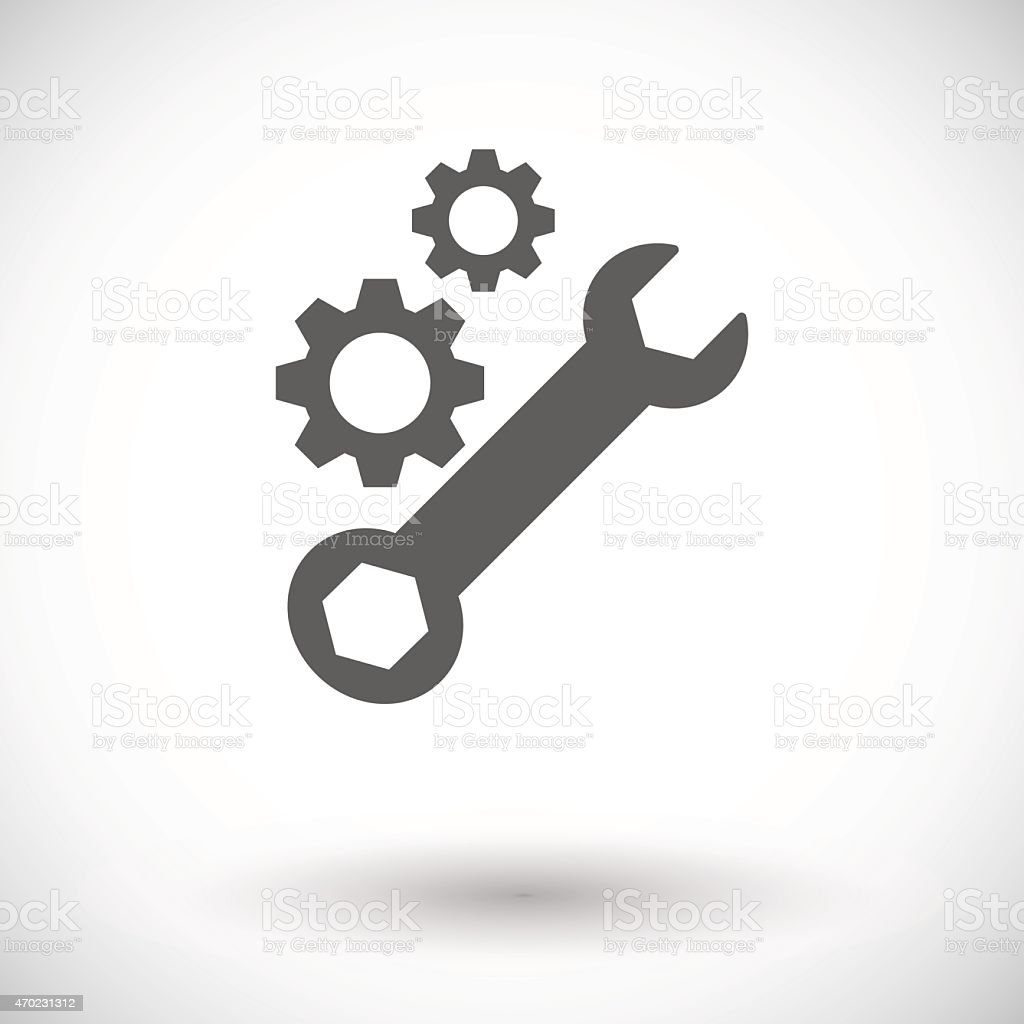 Two black gears and ratchet set icon  vector art illustration