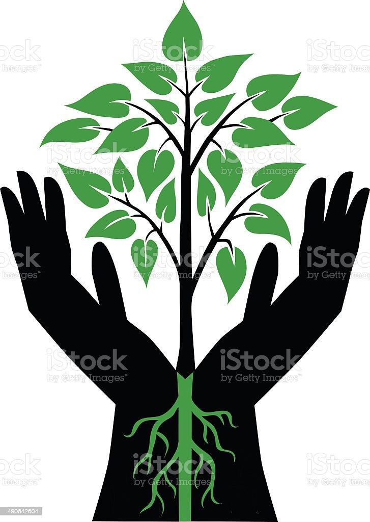 Two Black Hands Holding Green Plant vector art illustration